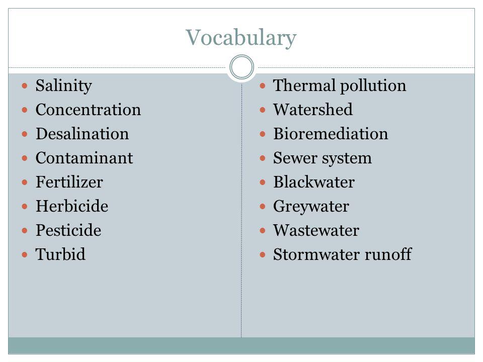 Vocabulary Salinity Concentration Desalination Contaminant Fertilizer