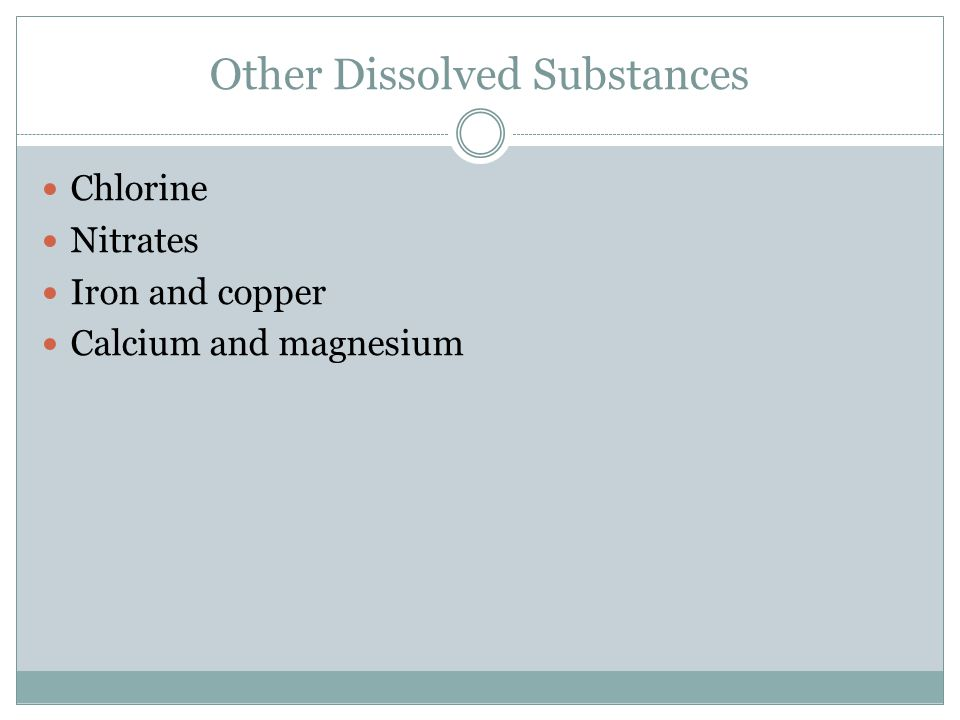Other Dissolved Substances