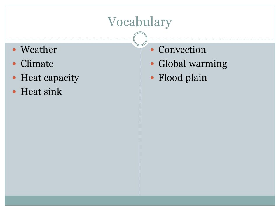 Vocabulary Weather Climate Heat capacity Heat sink Convection