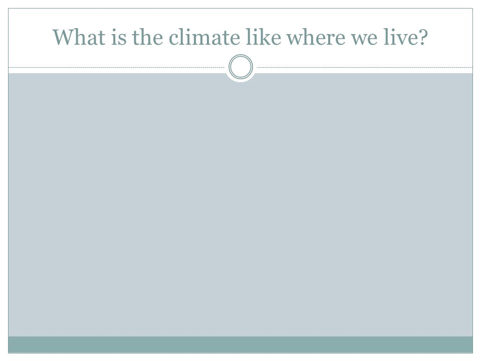What is the climate like where we live