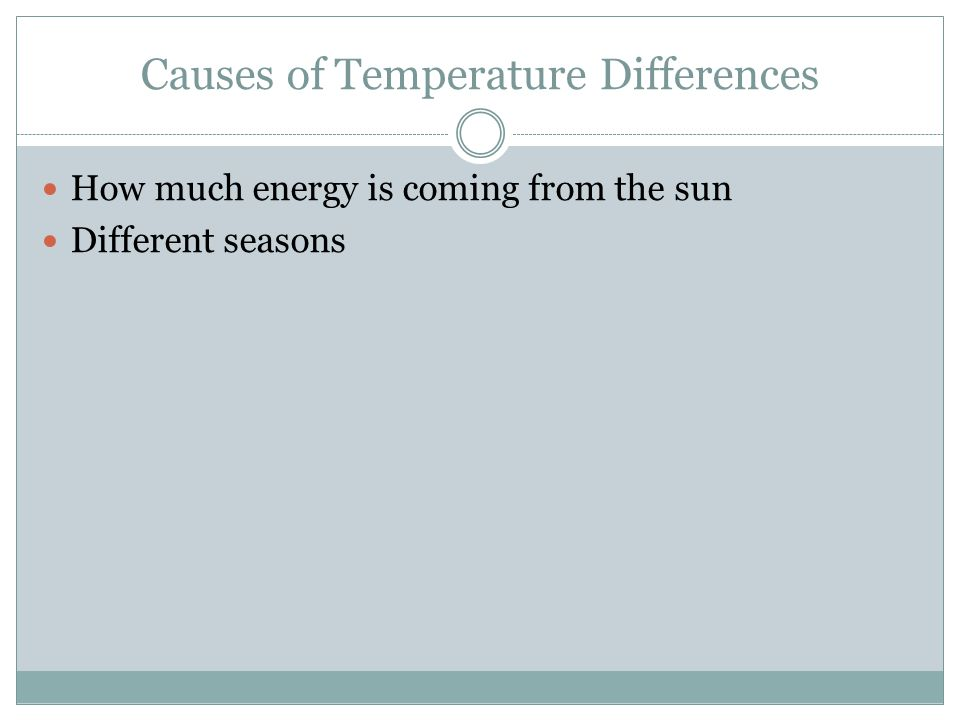 Causes of Temperature Differences