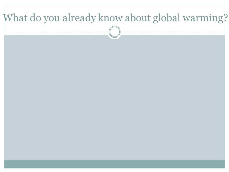 What do you already know about global warming