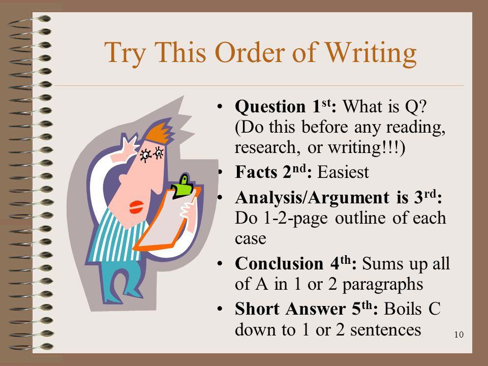 Try This Order of Writing