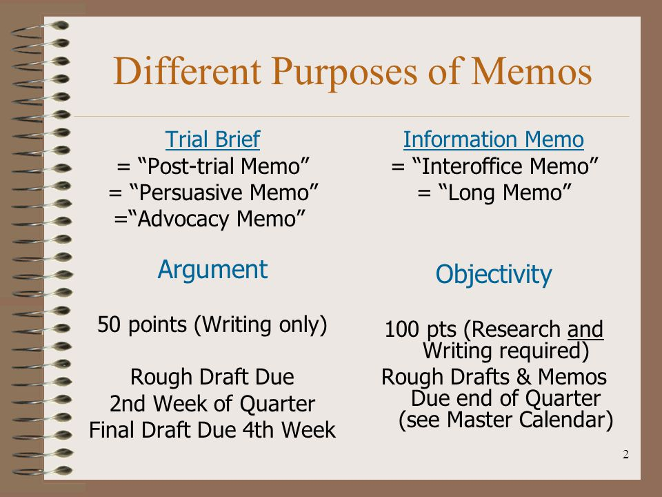 Different Purposes of Memos
