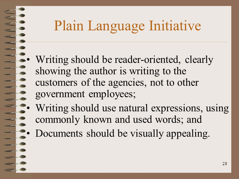 Plain Language Initiative