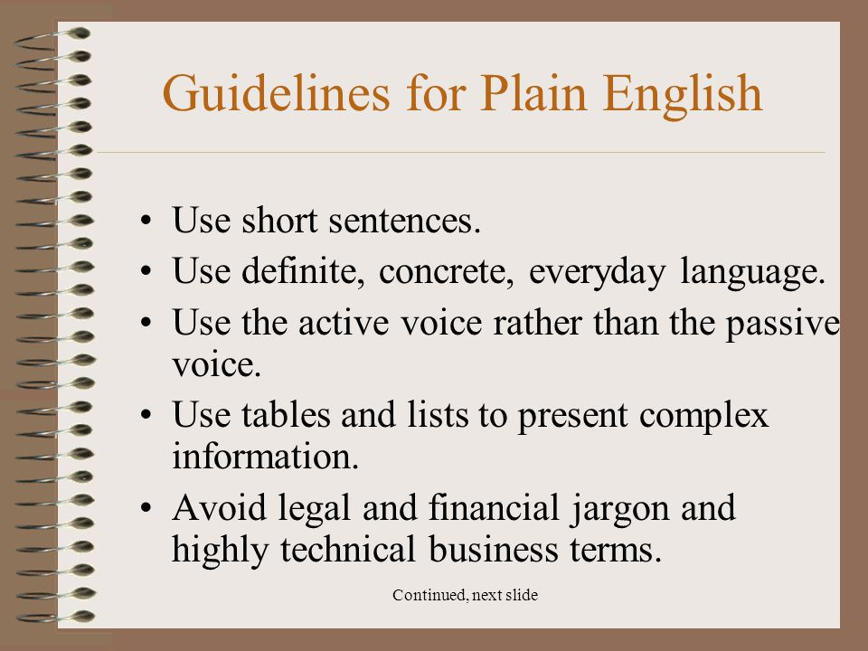 Guidelines for Plain English