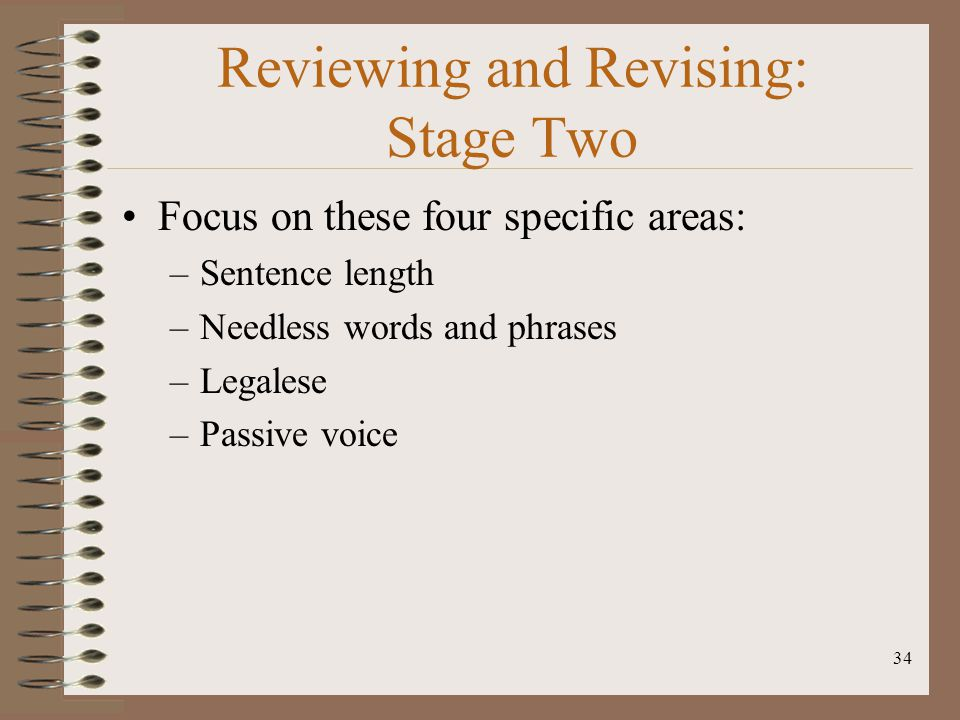 Reviewing and Revising: Stage Two