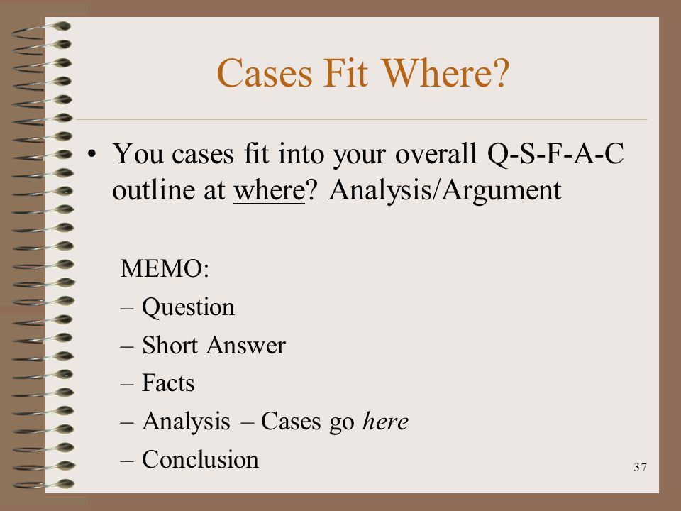 Cases Fit Where You cases fit into your overall Q-S-F-A-C outline at where Analysis/Argument. MEMO: