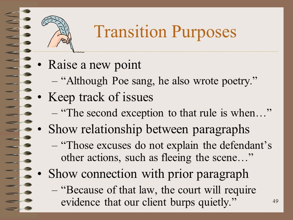 Transition Purposes Raise a new point Keep track of issues