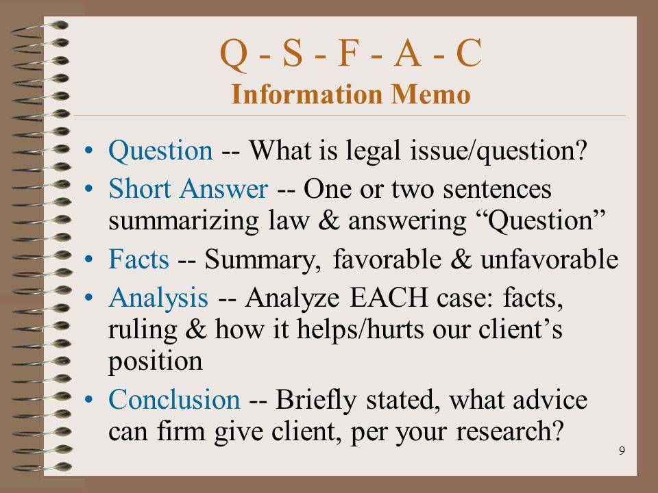 Q - S - F - A - C Information Memo