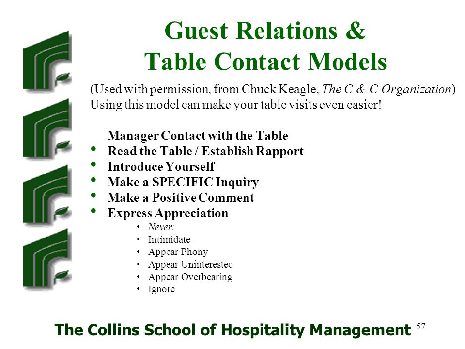 Guest Relations & Table Contact Models
