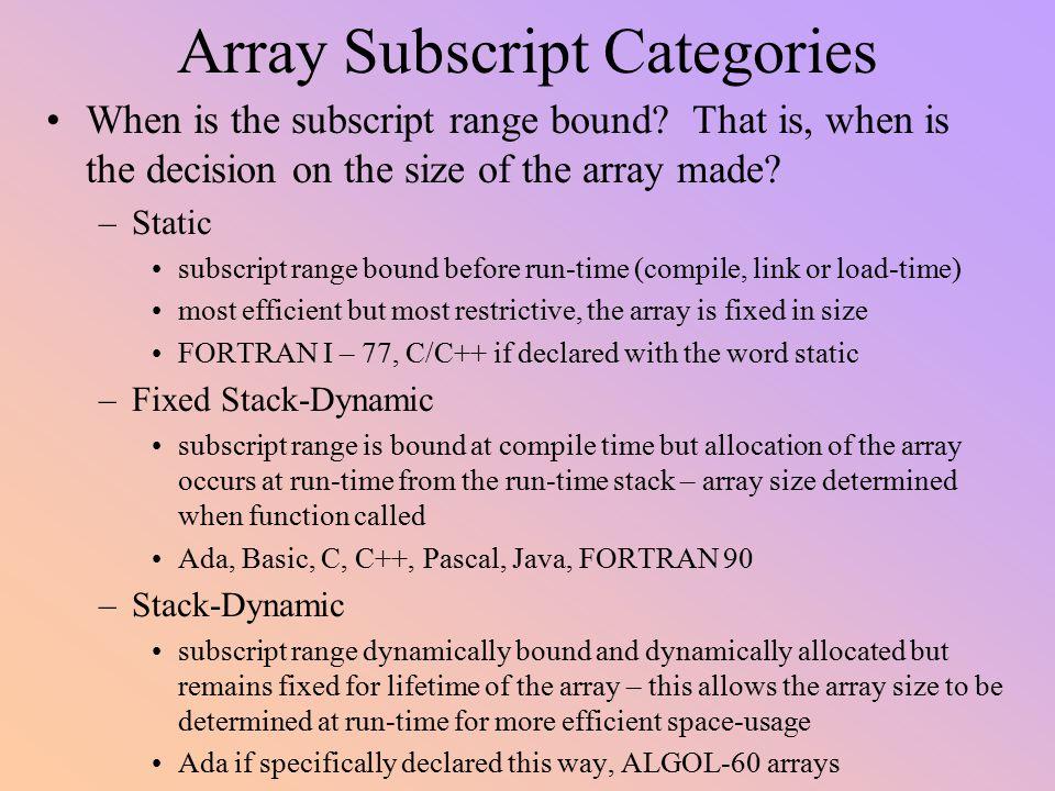 Array Subscript Categories