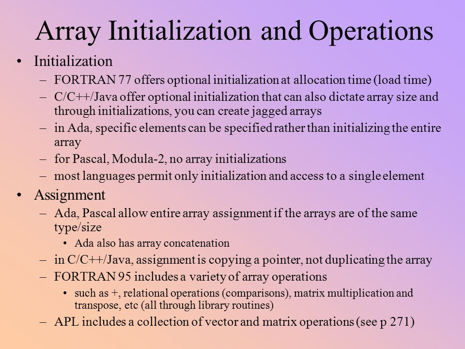 Array Initialization and Operations