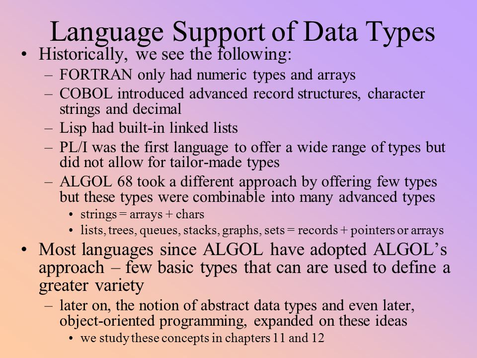 Data Types Programming Languages Need A Variety Of Data Types In - Types of languages in the world