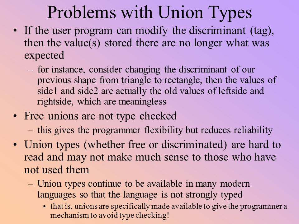 Problems with Union Types