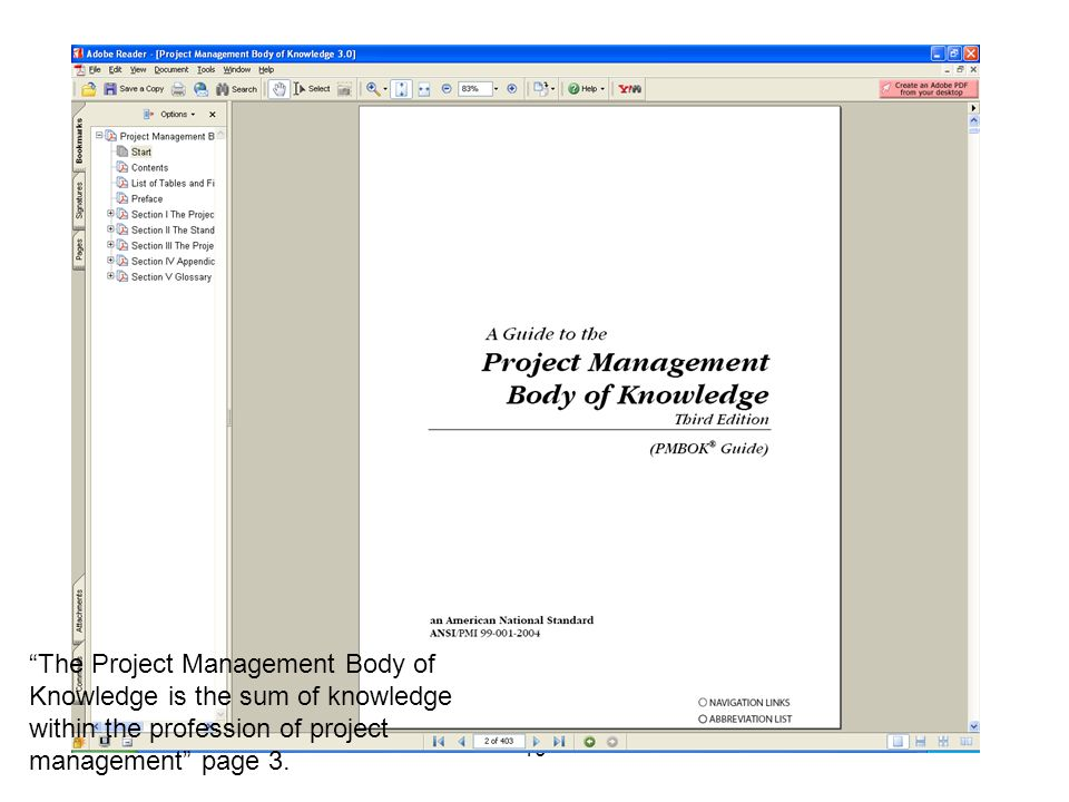 The Project Management Body of Knowledge is the sum of knowledge within the profession of project management page 3.