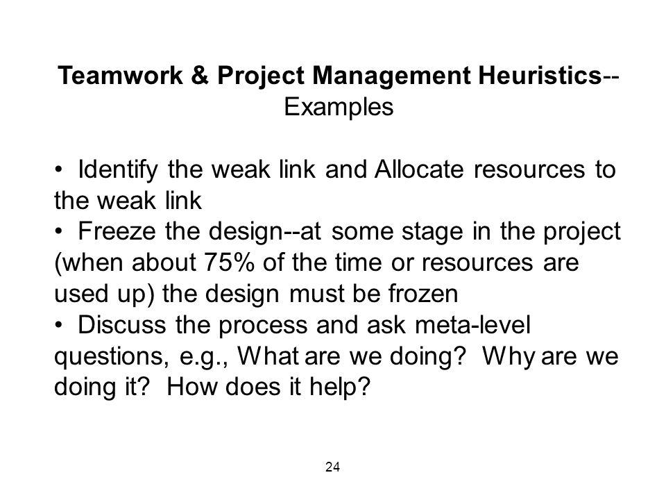 Teamwork & Project Management Heuristics--Examples
