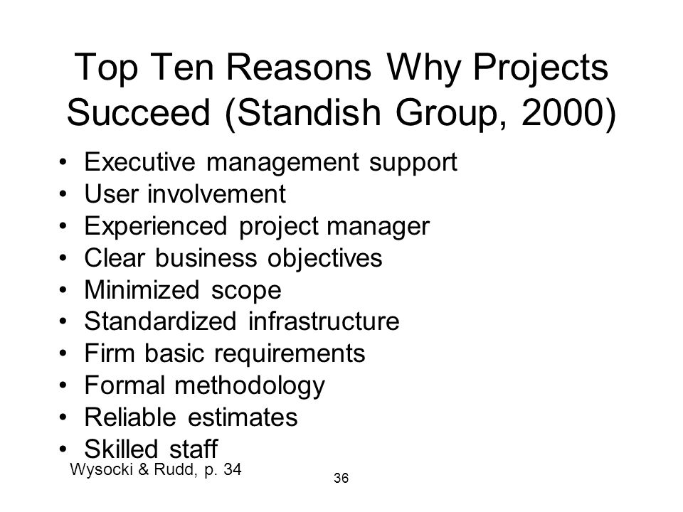 Top Ten Reasons Why Projects Succeed (Standish Group, 2000)