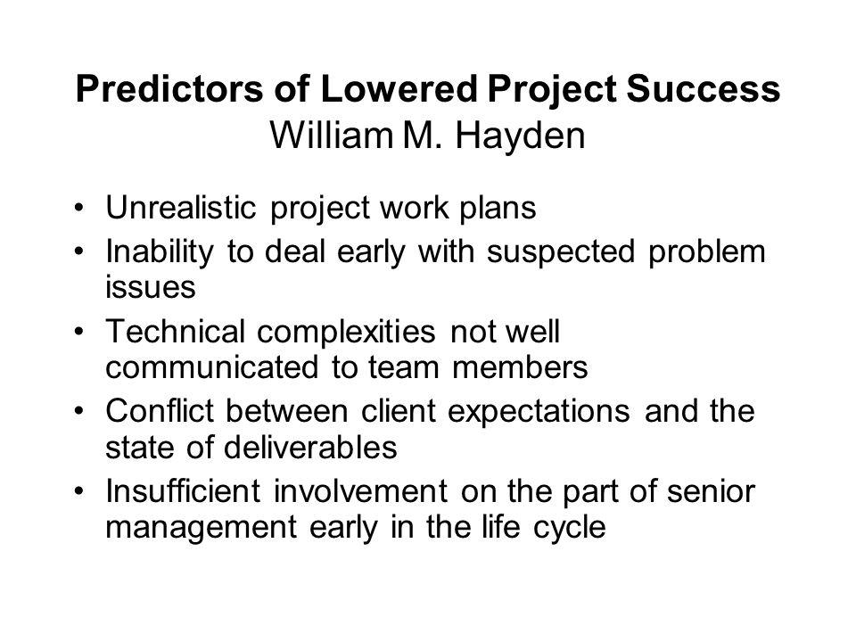 Predictors of Lowered Project Success William M. Hayden
