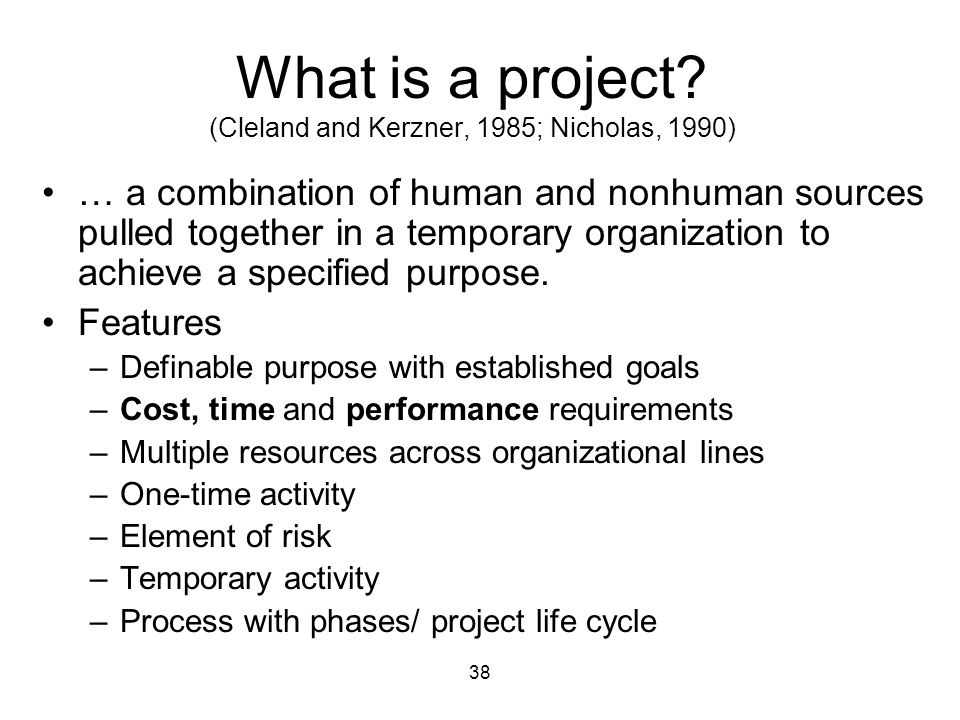 What is a project (Cleland and Kerzner, 1985; Nicholas, 1990)
