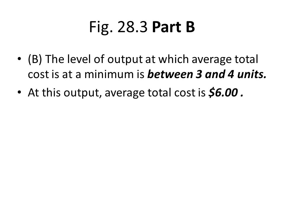 Fig. 28.3 Part B (B) The level of output at which average total cost is at a minimum is between 3 and 4 units.