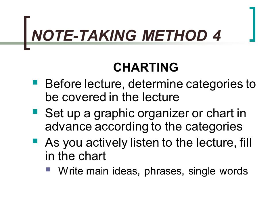 NOTE-TAKING METHOD 4 CHARTING