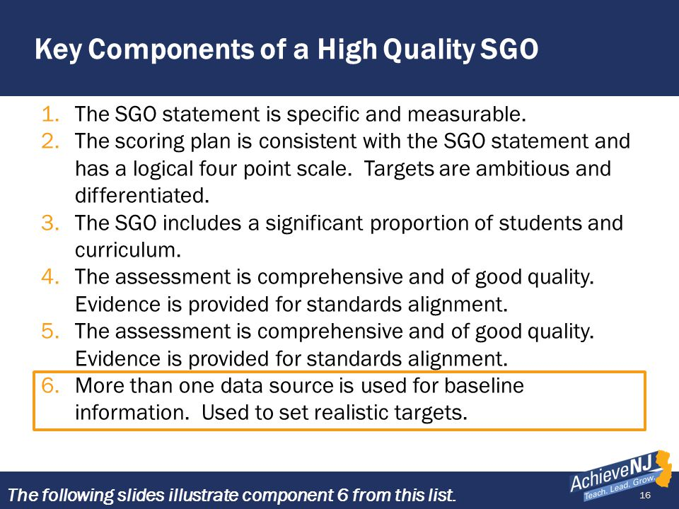 Key Components of a High Quality SGO