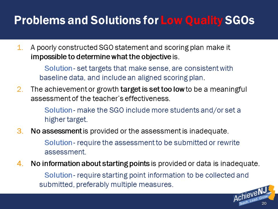 Problems and Solutions for Low Quality SGOs