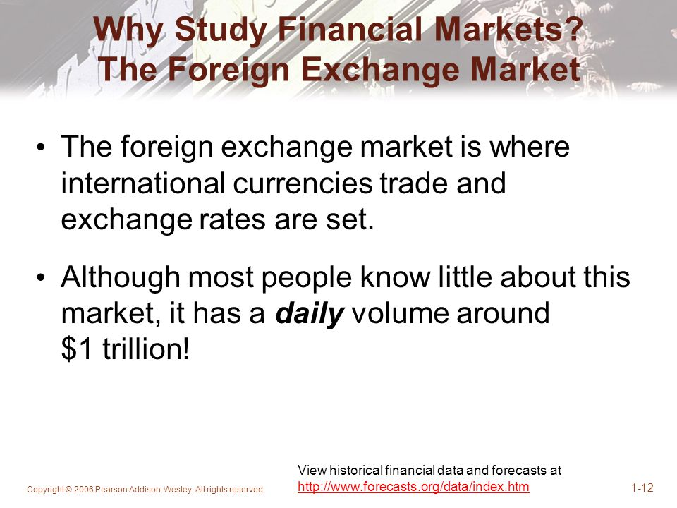 Why Study Financial Markets The Foreign Exchange Market
