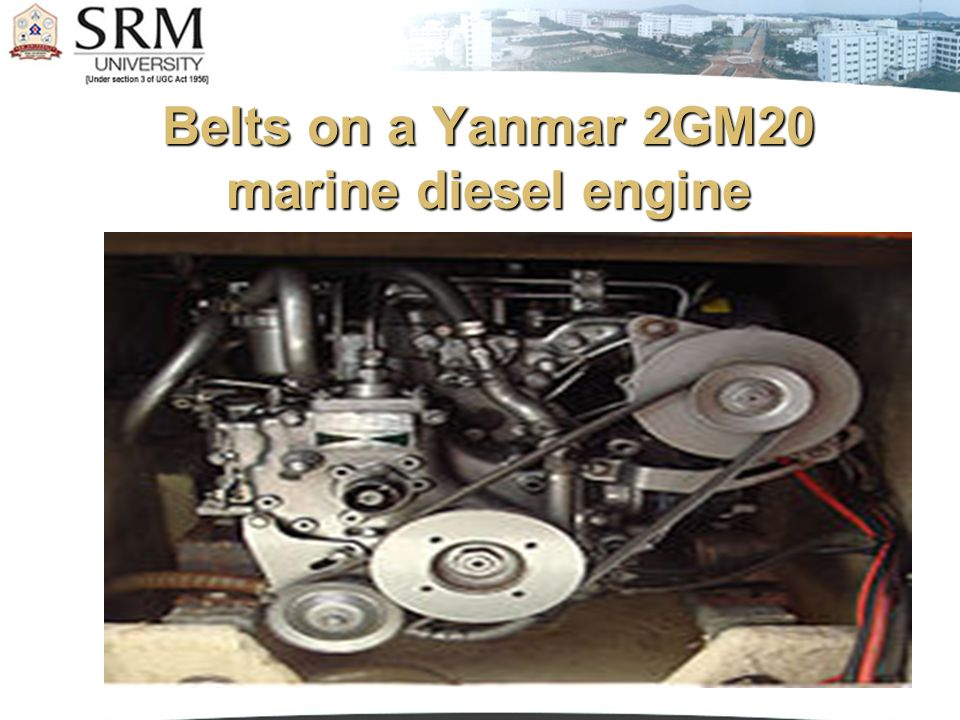 Belts on a Yanmar 2GM20 marine diesel engine
