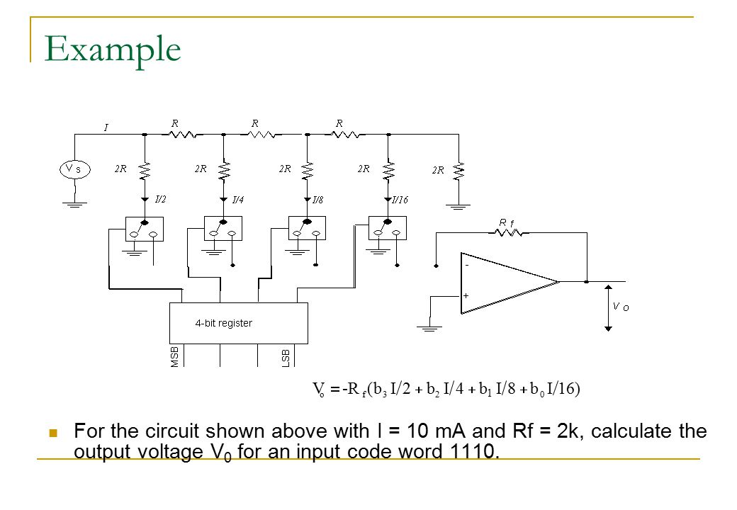 Example V. = -R. ( b. I. 2. + b. I. 4. + b. I. 8. + b. I. 16. ) 1. o. f. 3. 2.