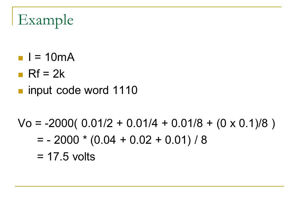 Example I = 10mA Rf = 2k input code word 1110