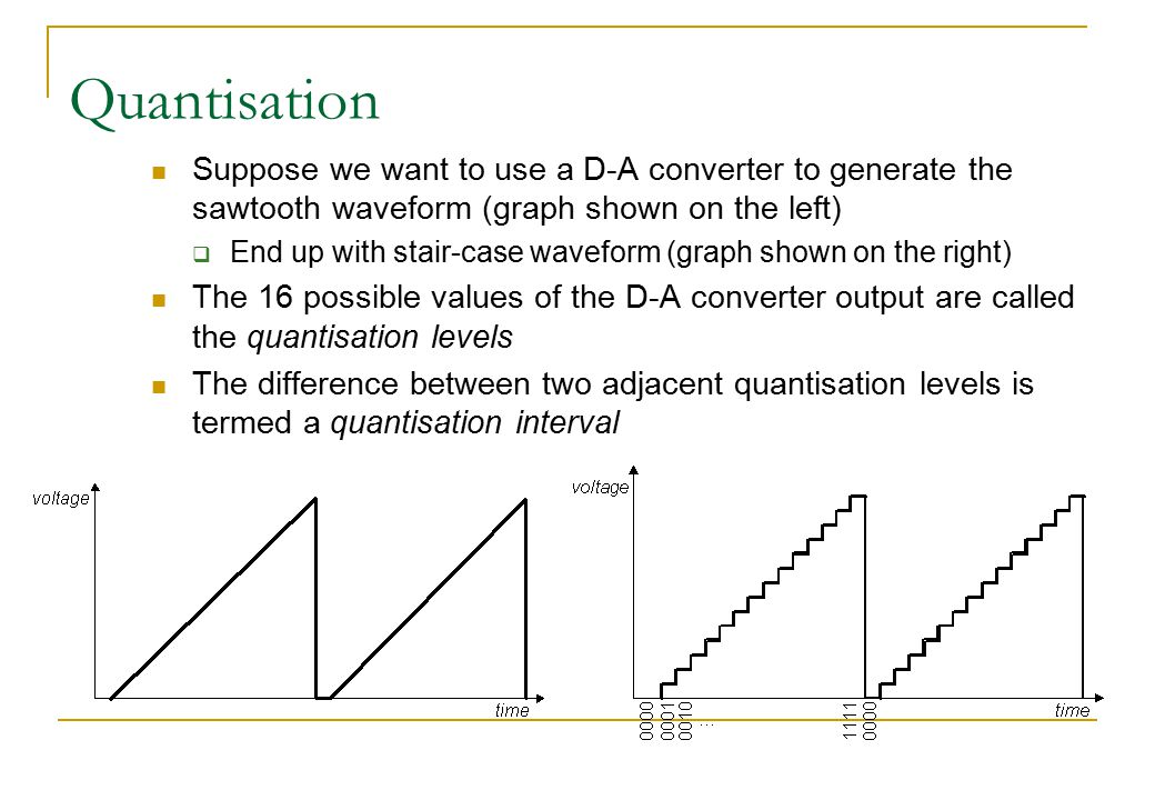 Quantisation Suppose we want to use a D-A converter to generate the sawtooth waveform (graph shown on the left)