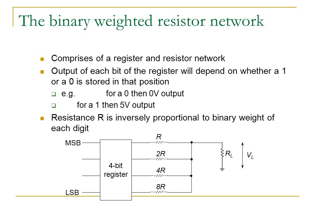 The binary weighted resistor network