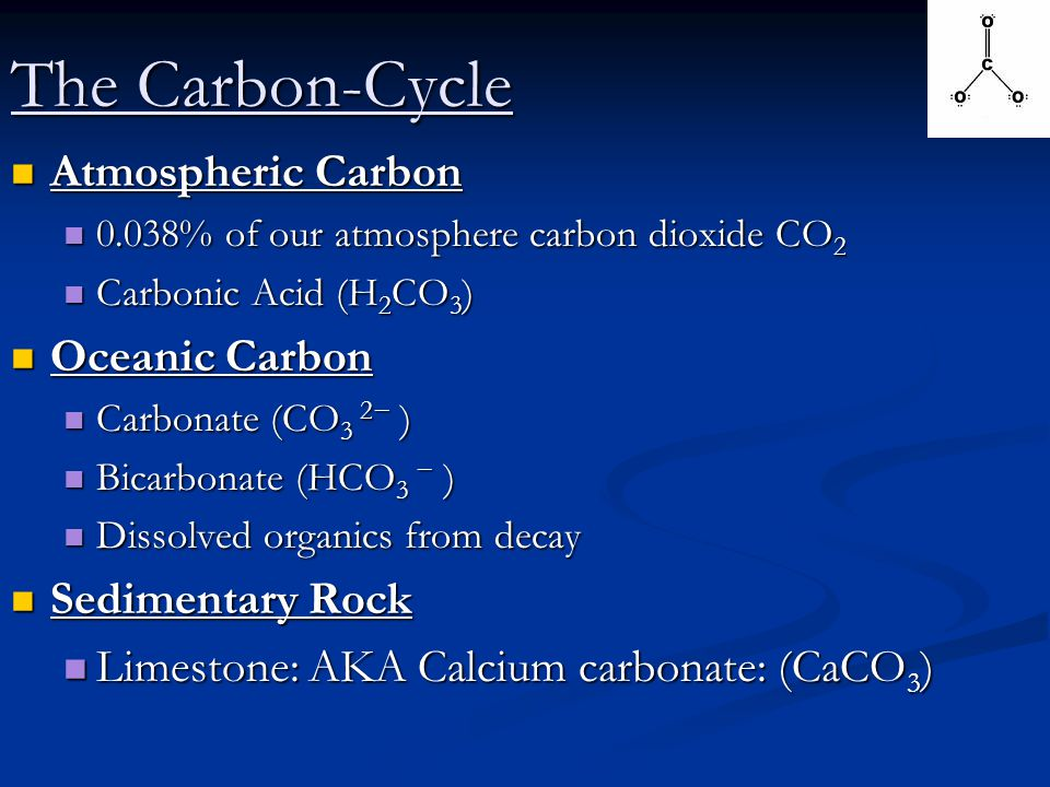 The Carbon-Cycle Atmospheric Carbon Oceanic Carbon Sedimentary Rock