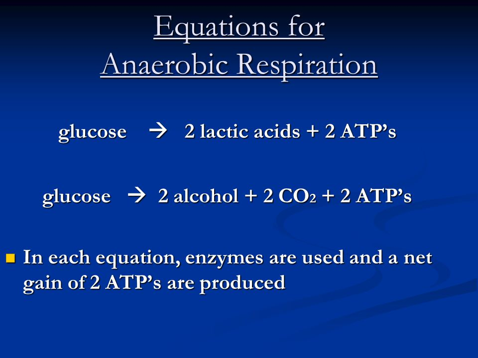 Equations for Anaerobic Respiration