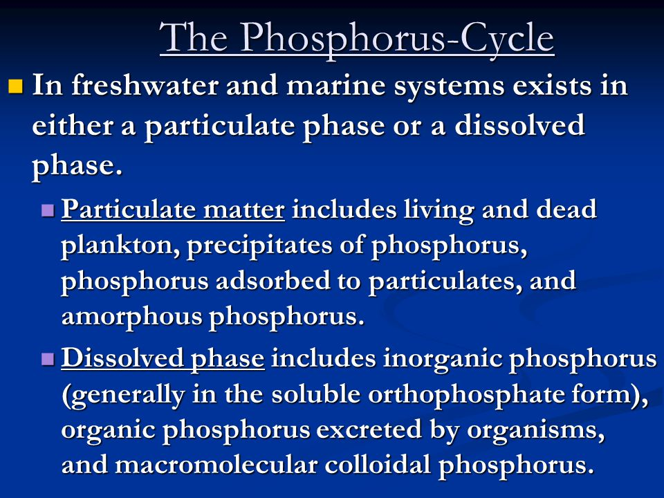 The Phosphorus-Cycle In freshwater and marine systems exists in either a particulate phase or a dissolved phase.