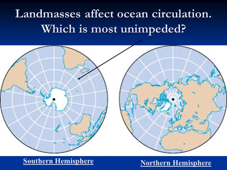 Landmasses affect ocean circulation. Which is most unimpeded