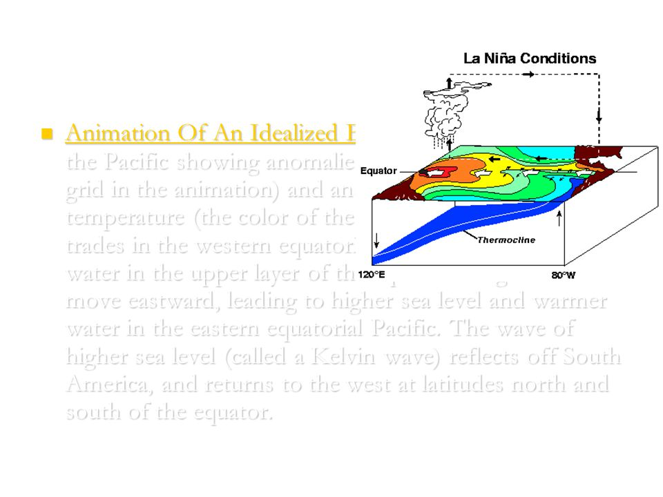 Animation Of An Idealized El Niño/La Niña Cycle in the Pacific showing anomalies of sea-surface height (the grid in the animation) and anomalies of sea-surface temperature (the color of the grid).