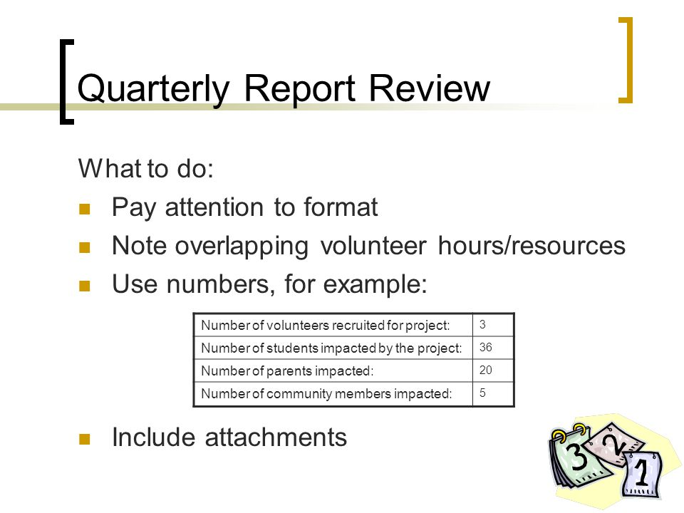 Quarterly Report Review