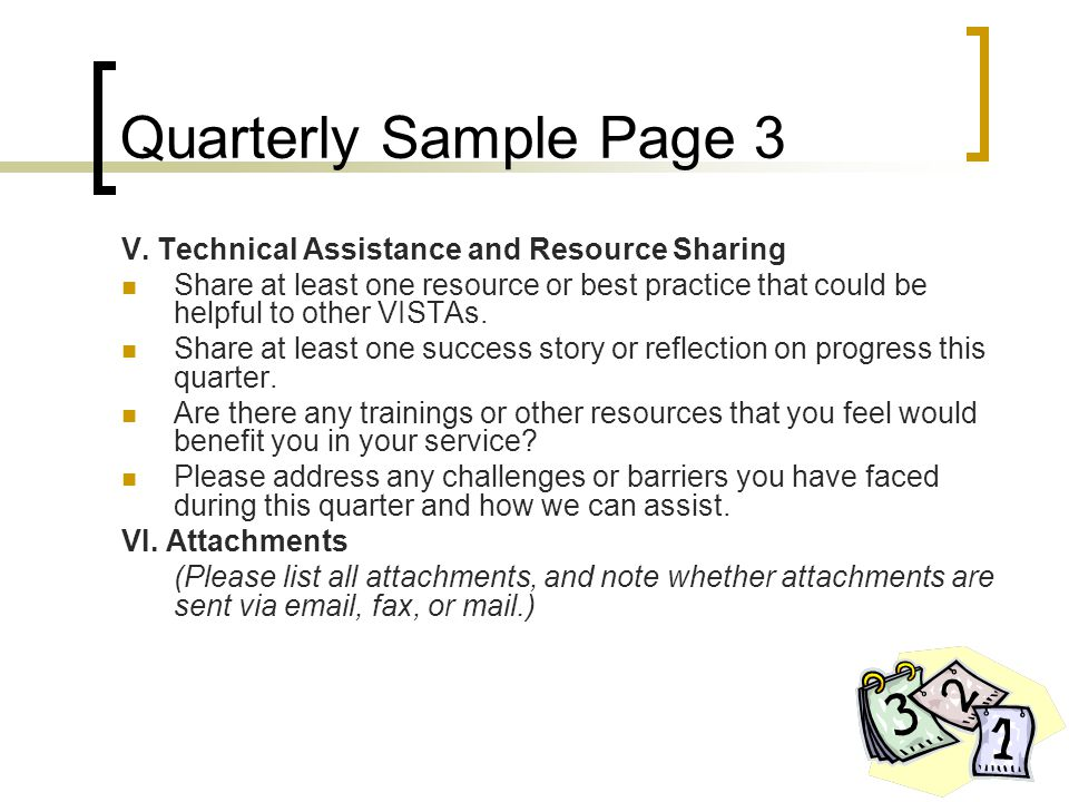 Quarterly Sample Page 3 V. Technical Assistance and Resource Sharing