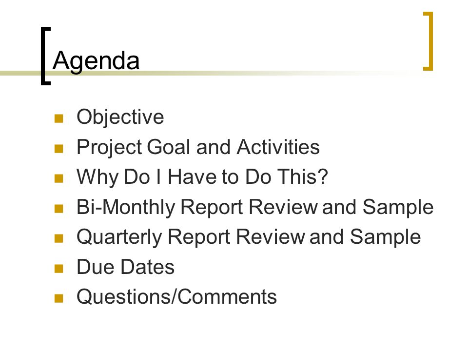 Agenda Objective Project Goal and Activities Why Do I Have to Do This