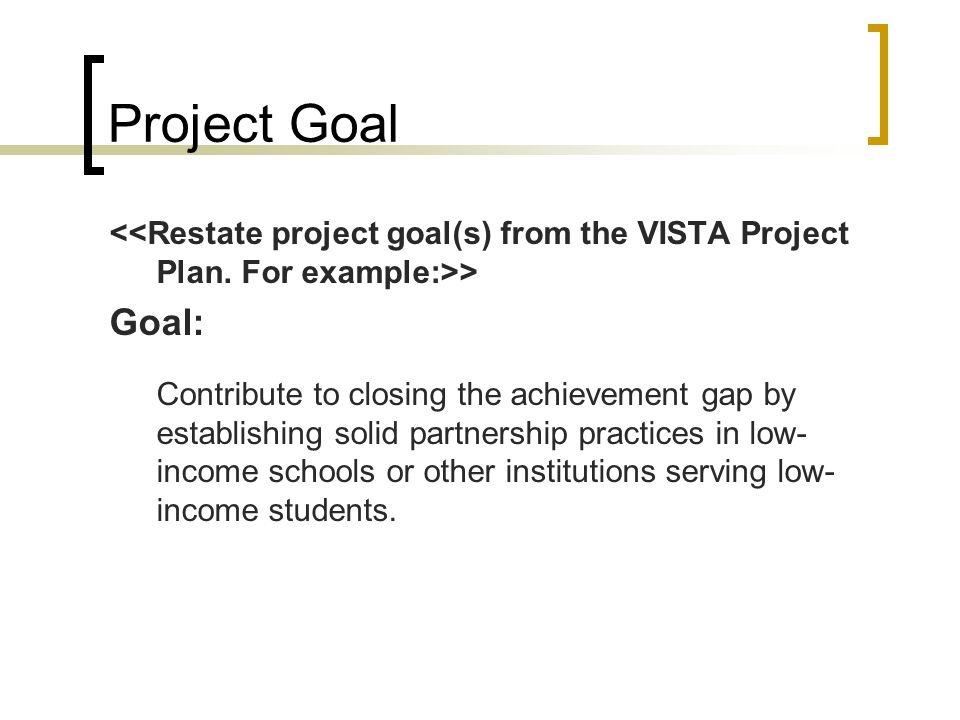 Project Goal <<Restate project goal(s) from the VISTA Project Plan. For example:>> Goal: