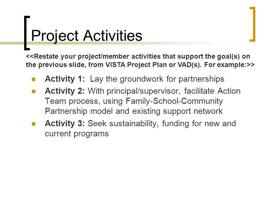 Project Activities Activity 1: Lay the groundwork for partnerships