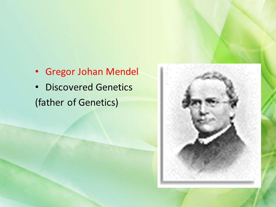 Gregor Johan Mendel Discovered Genetics (father of Genetics)