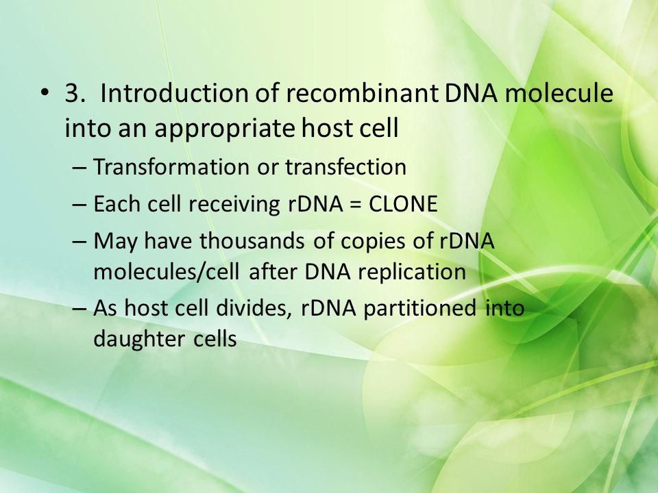 3. Introduction of recombinant DNA molecule into an appropriate host cell