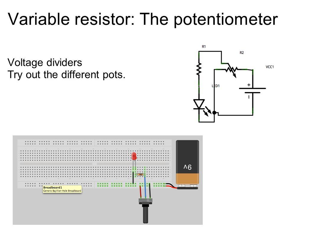 Variable resistor: The potentiometer