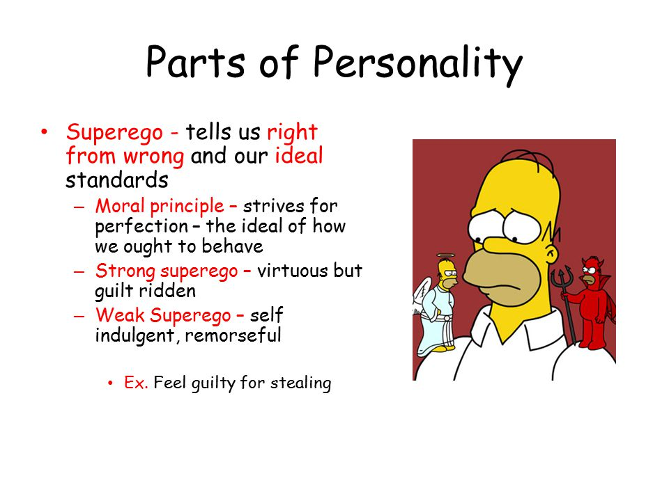 Parts of Personality Superego - tells us right from wrong and our ideal standards.