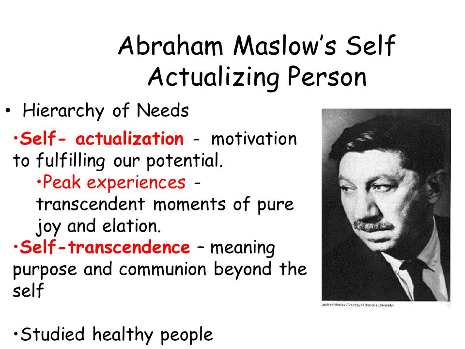 Abraham Maslow's Self Actualizing Person
