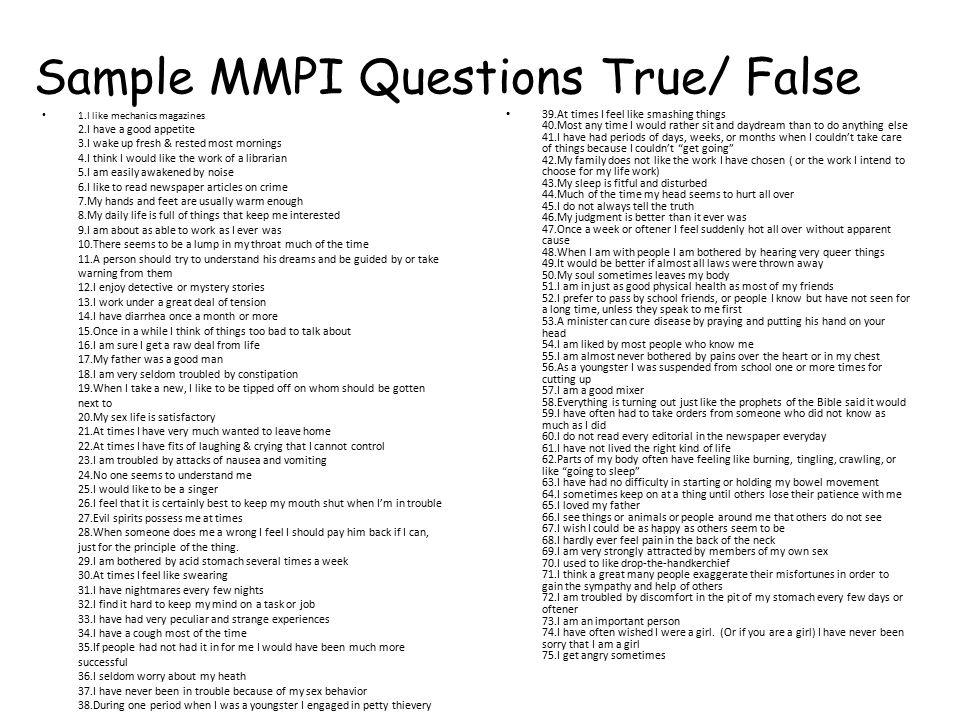 Sample MMPI Questions True/ False